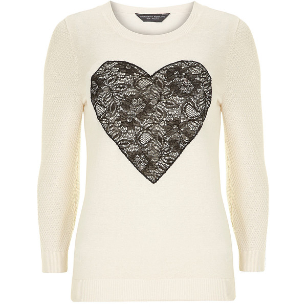 Dorothy Perkins Tall ivory lace heart sweater