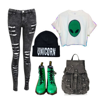 bag unicorn drmartens alien croc top backpack black backpack t-shirt grunge wishlist top
