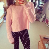sweater,t-shirt,shirt,tank top,top,long,pants,denim,print,classy,style,cozy,winter sweater,winter outfits,fall outfits,knitwear,knitted sweater,long sleeves,skinny pants,hot pants,polka dots,polka dot tights,leggings,big dots,dotted