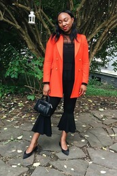 top,black top,blazer,orange blazer,pants,black pants,shoes,bag