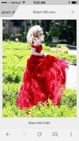 blonde hair summer dress prom dress red dress red princess dress sherri hill style fashion