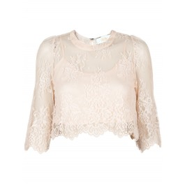 Crawley blush lace crop top
