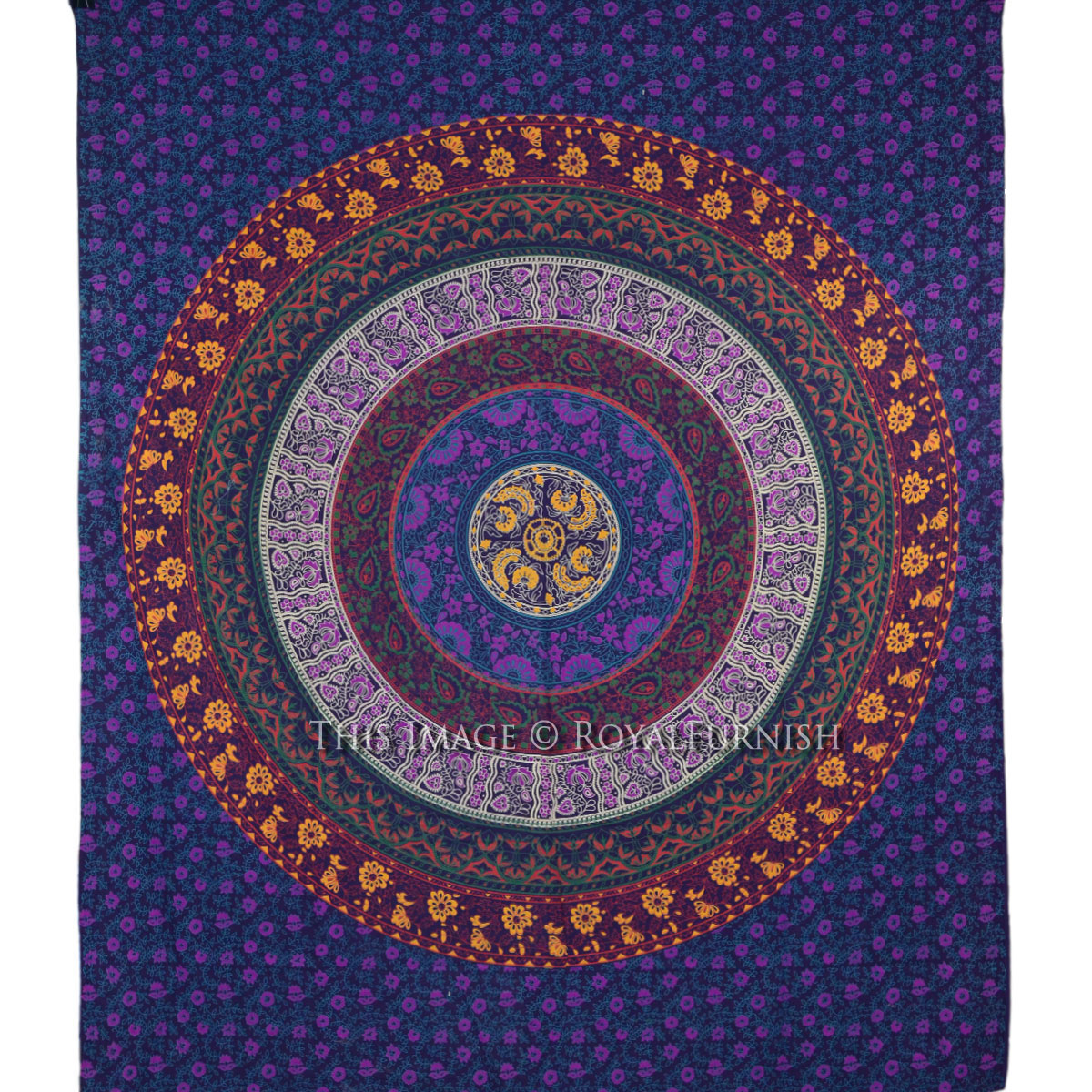 Purple Plum And Bow Medallion Tapestry Mandala Wall