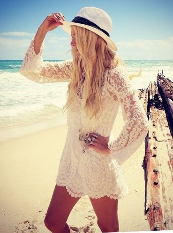 dress white lace summer white lace dress summer dress cute dress cover up white dress beach beach dress crochet beach wedding dress hat blouse sun lace beach dress fashion lace dress swimwear ivory bikini romper creame creme pretty cute flowers lace cove up