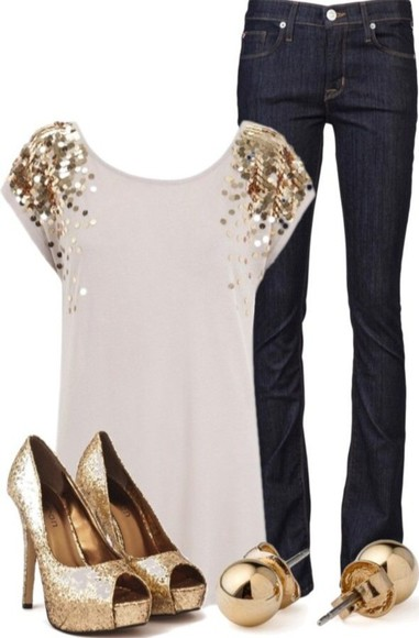 top sparkle gold sequins