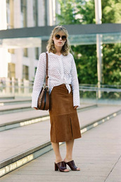 vanessa jackman,blogger,skirt,bag,long sleeves,white top,see through,shoulder bag,suede skirt,slit skirt,mules,burgundy,round sunglasses
