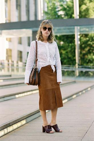 vanessa jackman blogger skirt bag long sleeves white top see through shoulder bag suede skirt slit skirt mules burgundy round sunglasses