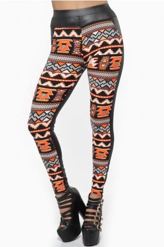 Geometric Tribal Print Orange Leggings