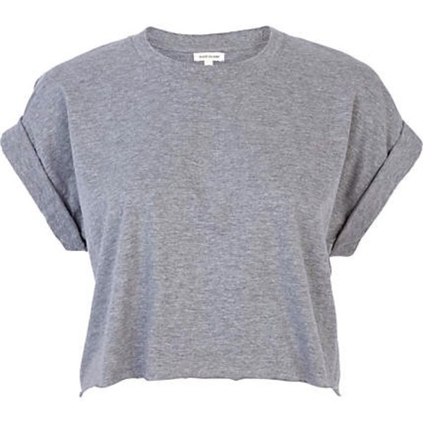 t-shirt grey crop tops