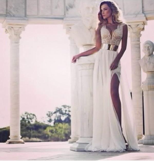 dress clothes ball gown dress girly white gold pretty long dress evening dress gown