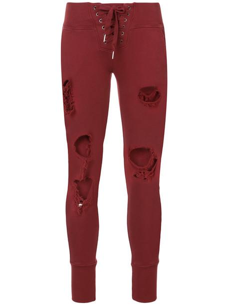 NSF women lace cotton red pants