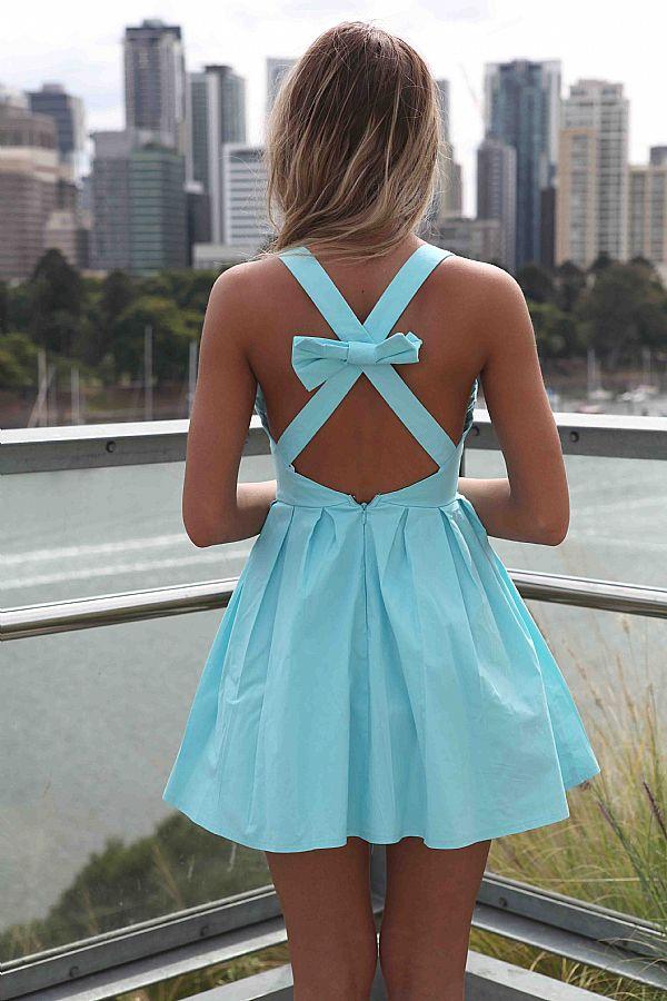 Baby blue sleeveless mini dress