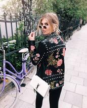 jacket,tumblr,black jacket,black leather jacket,leather jacket,embroidered jacket,embroidered,studs,bag,white bag,denim,jeans,black jeans,sunglasses,round sunglasses,studded jacket,studded,rose embroidered