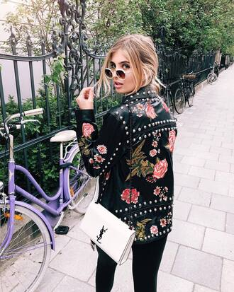 jacket tumblr black jacket black leather jacket leather jacket embroidered jacket embroidered studs bag white bag denim jeans black jeans sunglasses round sunglasses studded jacket studded
