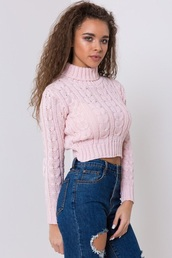 sweater,pink,knitted sweater,turtleneck,cropped sweater