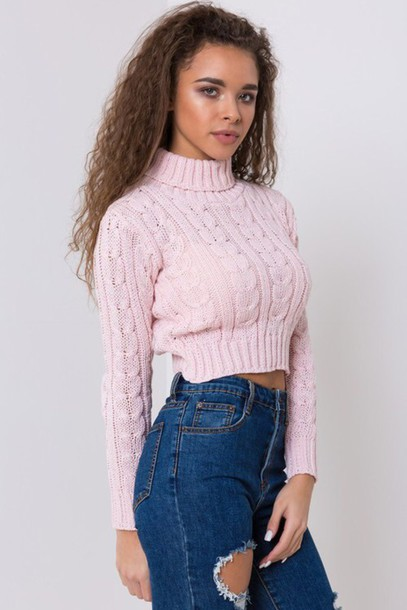 Sweater Pink Knitted Sweater Turtleneck Cropped