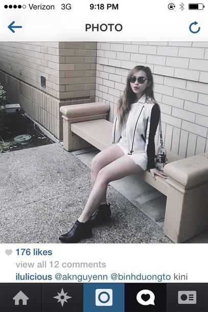 jacket white black cute hot biker jacket clothes punk alternative edgy fashion