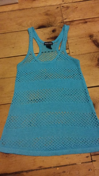 shirt wet seal blue tank top racerback knit tank top knit overshirt