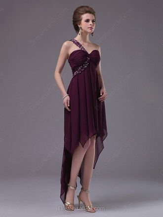 dress purple elegant fashion asymmetrical prom evening dress dressofgirl