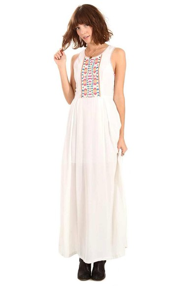 dress boho dress cream dress ethnic print
