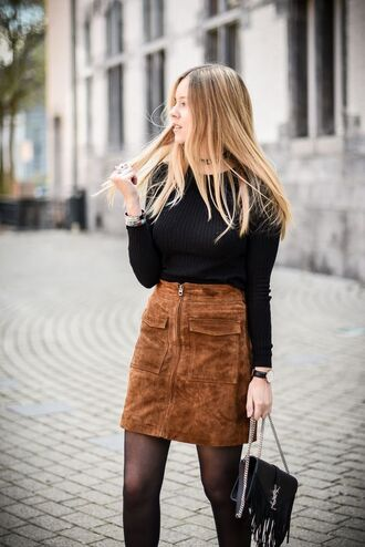 skirt suede skirt black top college back to school pocket skirt fall skirt office outfits fall outfits zipped skirt zip-up skirt ysl bag sweater shirt retro cute skirt winter outfits velours velvet skirt