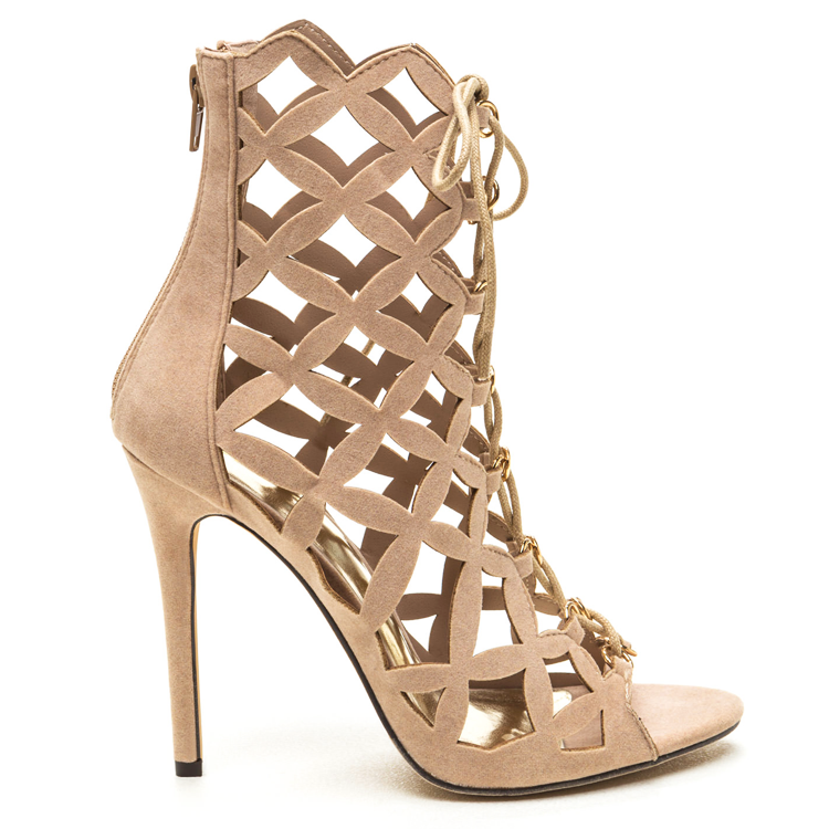 BRIELLE Faux Suede Lattice Bootie in Nude at FLYJANE