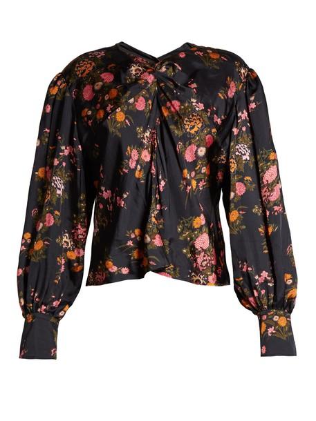 Isabel Marant top floral print silk black