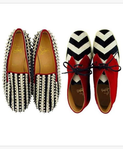 spikes shoes black white red different stripes spiked shoes shoes with spikes black and red oxfords flats studded flats need shoes cute flashy celebrity style celebrity  fashion
