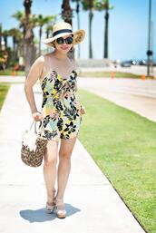 whatever is lovely – a houston life and style blog by lynne gabriel,blogger,romper,hat,sunglasses,jewels,bag,shoes