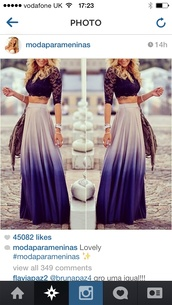 skirt,dress,shirt,spring outfits,ombre,beige,long skirt,ombre bleach dye,maxi skirt,blouse,spring skirt,purple,chic,long,hot,fashion,style,black,dark,t-shirt,top,crop tops,crop top and skirt,black crop top,lace crop top,tight fitted,blue and whte maxi skirtt,blue ombré maxi,sexy,purple ombre skirt,purple ombre,free vibrationz