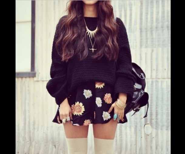 sweater knitted sweater aztec style necklace flower skirt hipster leggings oversized sweater skirt jewels jewelry bracelets