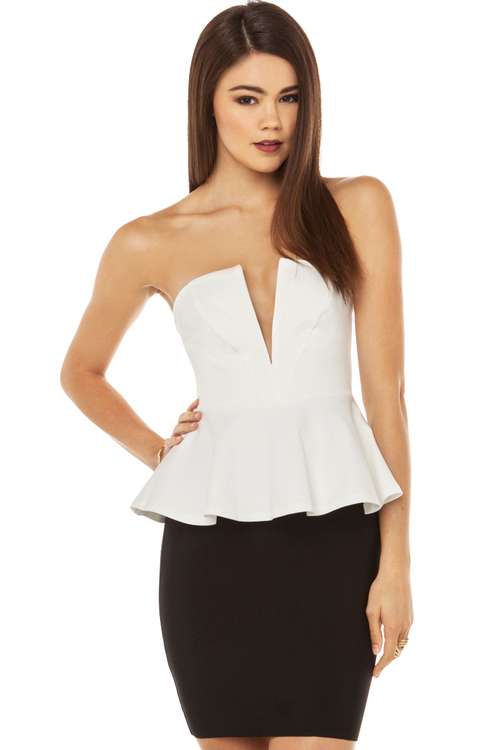 Ponte Peplum Top in Ivory