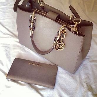 bag grey michael michael kors purse handbag tote bag grey bag