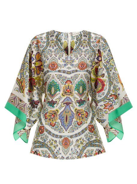 ETRO top floral print silk white
