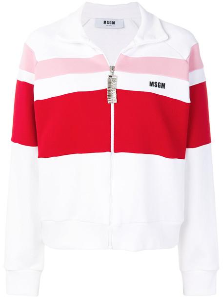 MSGM - striped zipper jacket - women - Cotton/Polyamide - S, White, Cotton/Polyamide