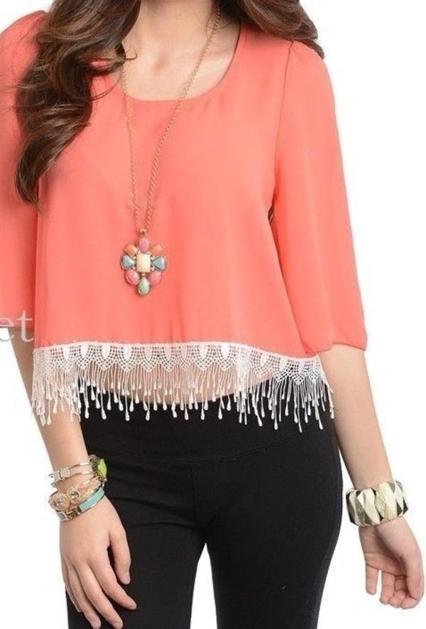 shirt fringes coral crop tops crop tops embrodering lace crop top crochet crop top