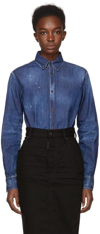 shirt denim blue top