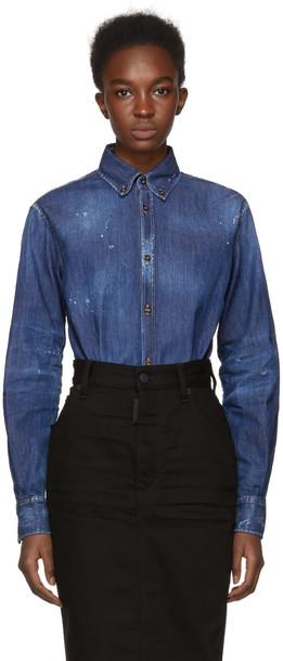 Dsquared2 shirt denim blue top