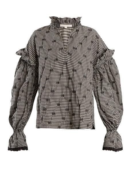 Jonathan Simkhai blouse gingham white black top