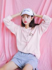sweater,pink,cute,girly,fashion,style,light pink,hoodie,pastel,beautifulhalo