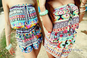 blouse,romper,shorts,ethnic,multicolor,combinaison,jumpsuit,colorful,colorful patterns,ethnic print,ethnic patterns,t-shirt,aztec,tribal pattern,indian,summer,dress,one piece,sweater,short,norway,shirt,color/pattern,pattern,aztec romper,cute romper,tribal romper,bright,stylish,strapless,strapless romper,playsuite,summer top,tumblr outfit,fashion,style
