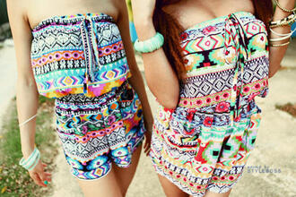 blouse romper shorts ethnic multicolor combinaison jumpsuit colorful colorful patterns ethnic print ethnic patterns t-shirt aztec tribal pattern indian summer dress one piece sweater short norway shirt color/pattern pattern aztec romper cute romper tribal romper bright stylish strapless strapless romper summer top tumblr outfit fashion style