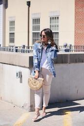 fashionably kay,blogger,jacket,t-shirt,jeans,shoes,sunglasses,bag,jewels,denim jacket,cult gaia bag,sandals,spring outfits