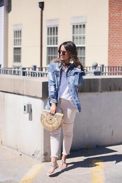 fashionably kay blogger jacket t-shirt jeans shoes sunglasses bag jewels denim jacket cult gaia bag sandals spring outfits