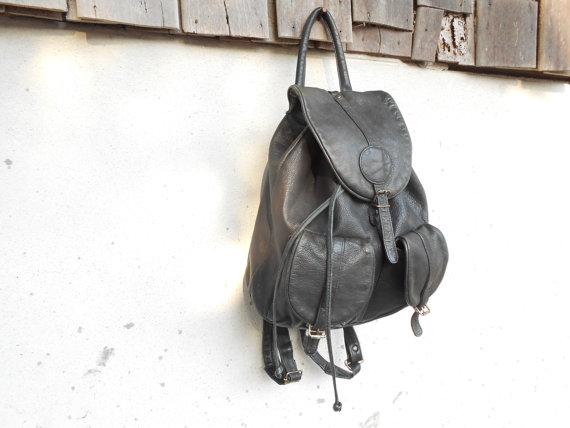 Vintage Black Leather Backpack // Leather Rucksack by VindicoShop