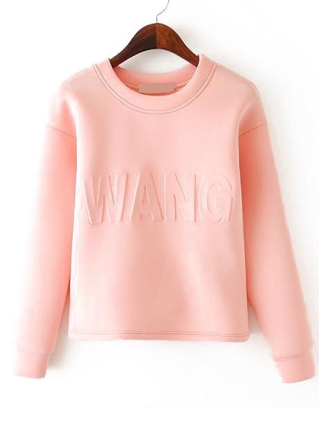 Long Sleeve WANG Pattern Crop Sweatshirt - Sheinside.com