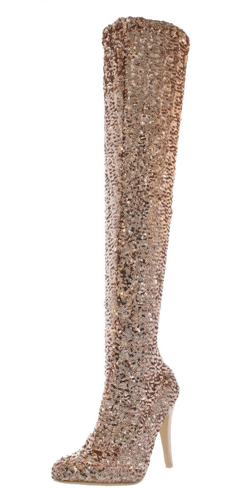 Gold sequin thigh high boot