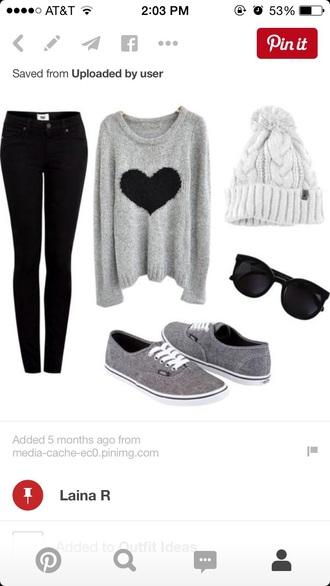 sweater grey sweater grey sweater with black heart gray sweater with black heart gray vans grey vans vans sunglasses black sunglasses shoes jeans