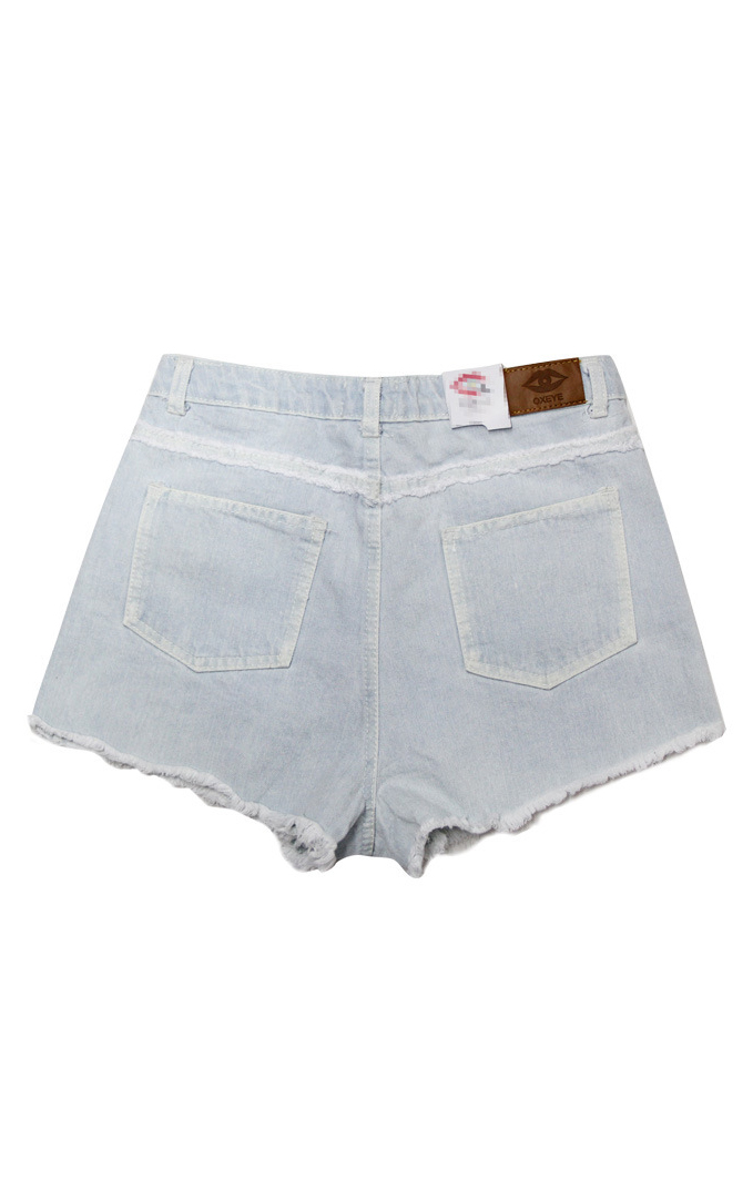 Four-Pocket Macrame Hem Denim Shorts