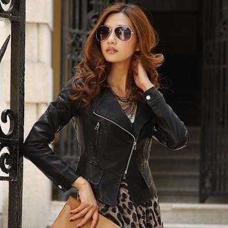 sunglasses style fashion leather jacket cheetah print dress cheetah sexy dress hot outfit
